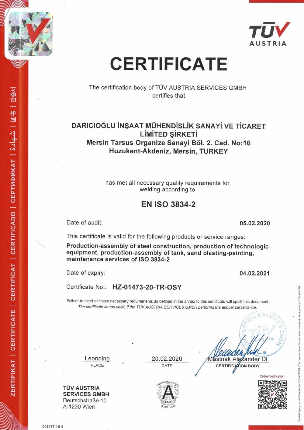 EN ISO 3834-2 KALİTE SERTİFİKASI