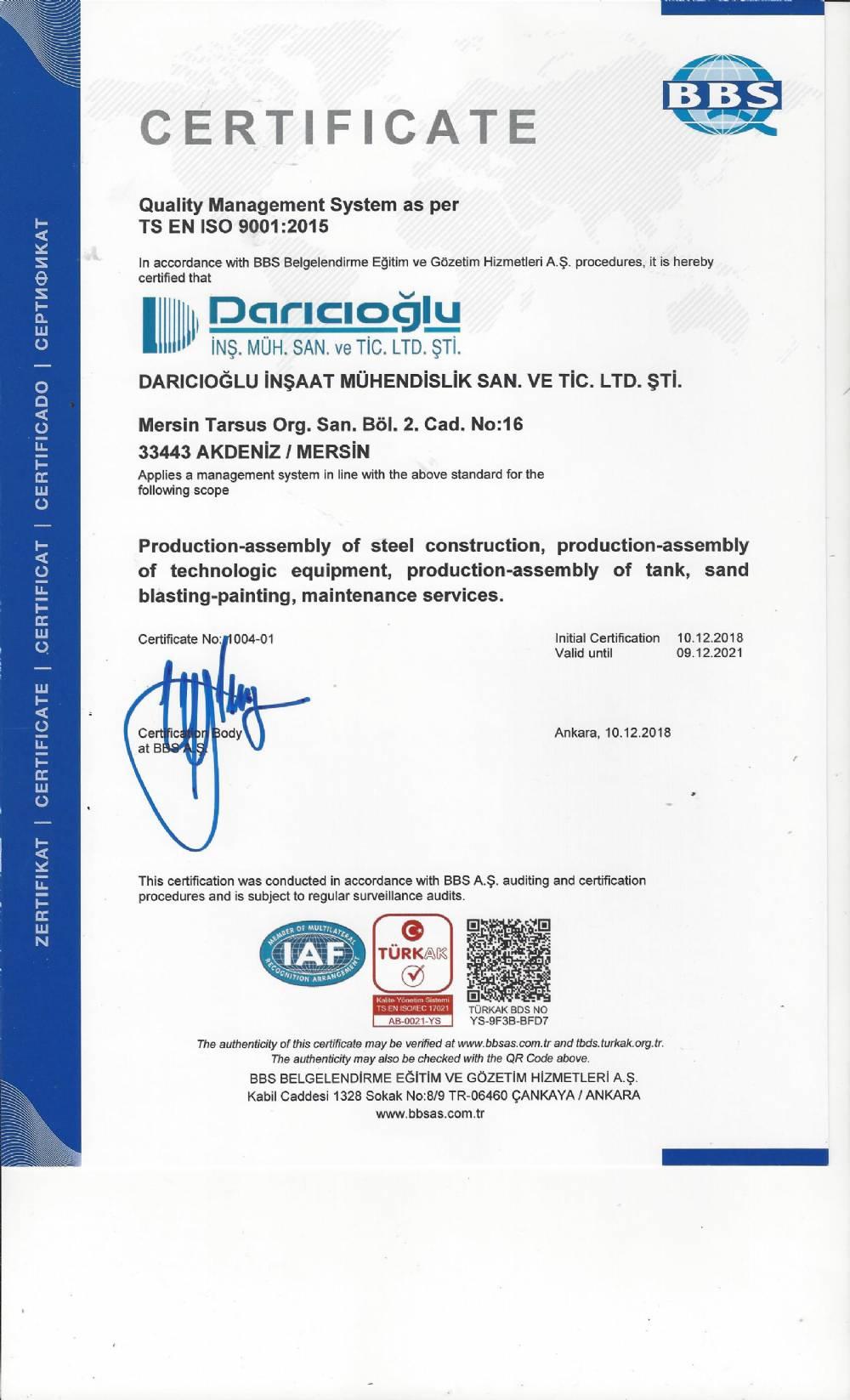 TS EN ISO 9001-2008